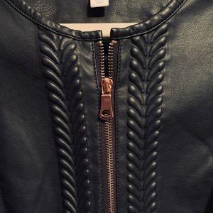 EUC Charter Club Navy blue faux leather jacket